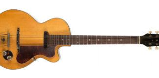 Foto da primeira guitarra do guitarrista dos Beatles, George Harrison.